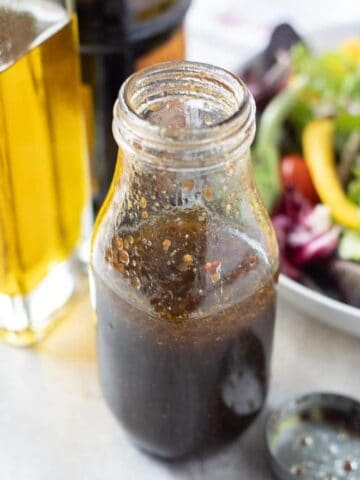 Homemade Balsamic Dressing in Clear Jar