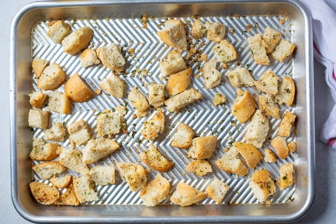 Baking Sheet with Homemade Croutons