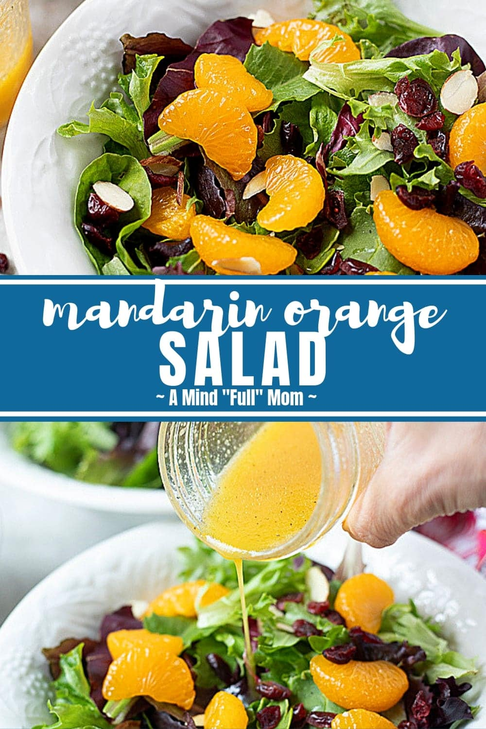 Mandarin Orange Salad is a bright and fresh side salad that is bursting with flavor! Made with tender spring mix, sweet mandarin oranges, almonds, cranberries and a fresh Citrus Salad Dressing, this Mandarin Orange Salad is DELICIOUS! #salad