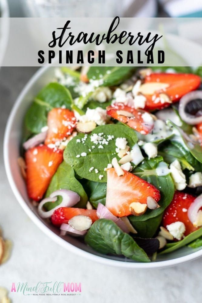 This simple Strawberry Spinach Salad is one of the BEST salad recipes! Everyone loves this fresh combination of spinach, strawberries, almonds, feta, with a creamy poppy seed dressing. This salad is a must make and has a gorgeous presentation. It is perfect for an elegant brunch or a family meal.