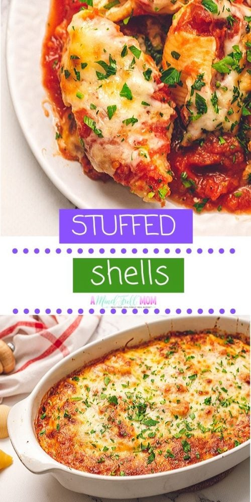 Delicious Stuffed Shells are the perfect easy, weeknight dinner. Jumbo pasta shells are stuffed with a creamy, cheesy ricotta filling baked to absolute perfection. This vegetarian recipes is Italian Comfort food at it's finest.