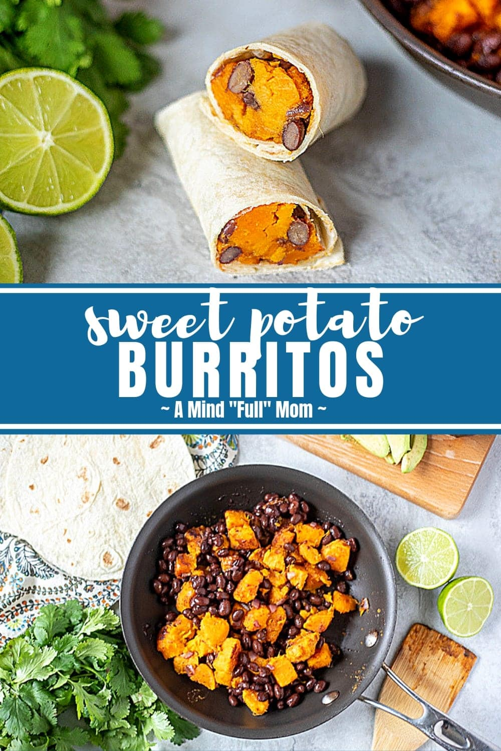 These hearty sweet potato burritos with black beans make a perfect vegetarian burrito. Filled with sweet potatoes, black beans and southwestern spices, these easy burritos are hearty, filling, and healthy! #vegan #burritos