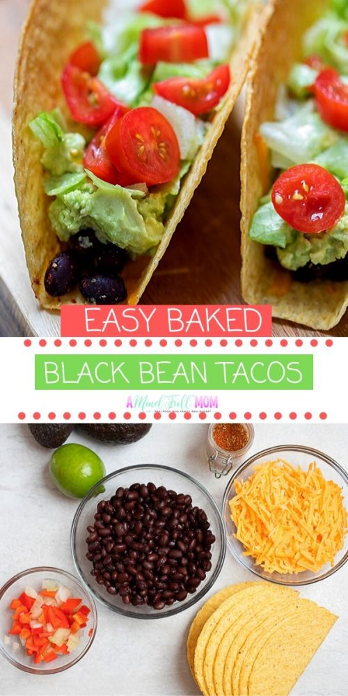 Black Bean Tacos come together in 15 minutes and make an incredibly easy, and delicious, cheesy baked taco. Served with an optional creamy avocado sauce, these meatless tacos are PERFECT for busy nights!