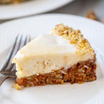 Carrot Cake Cheesecake on white plate