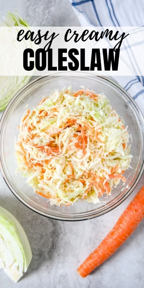 It could not be easier to make creamy coleslaw at home! This Homemade coleslaw comes together in minutes with just a few ingredients and is the perfect side dish or accompaniment to barbecue sandwiches. And the bonus is you can make this with or without mayo!