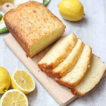 Sliced Lemon Bread on Wooden Cutting Board