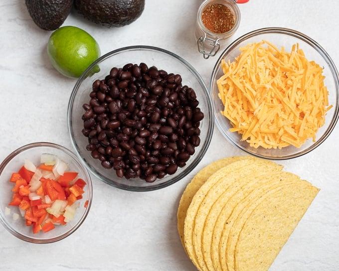 Ingredients for Black Bean Tacos