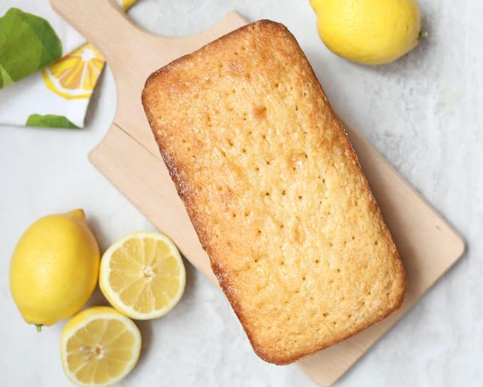 Lemon Quick Bread on wooden cutting board