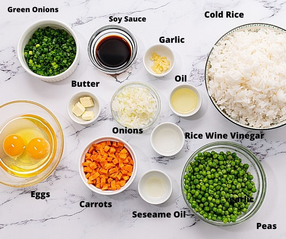 Ingredients for Fried Rice labeled on white counter top