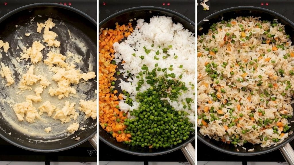 Side by side pictures of skillet with steps to making fried rice