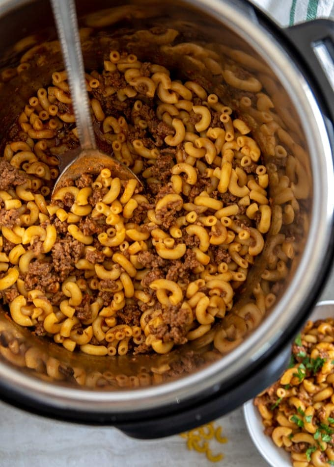 Prepared Hamburger Helper inside instant pot