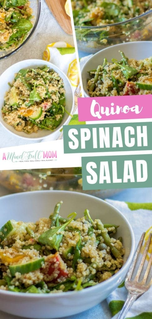 A refreshing and light easy quinoa salad with spinach and fresh lemon dressing! This vegan spinach quinoa salad for healthy lunches is so simple and ready in 30 minutes. It is a quick and filling option to power up during the summer! Save this pin!