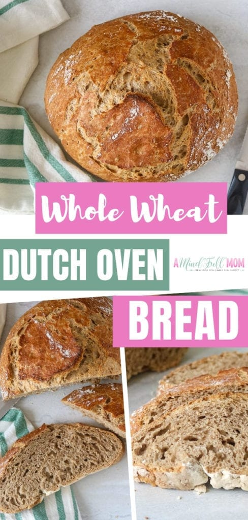 A simple technique that creates a hearty, rustic, and easy Dutch oven bread recipe! Perfect for serving with soup or toasting up for a hearty breakfast. Try making this No-Knead Whole Wheat Dutch Oven Bread!