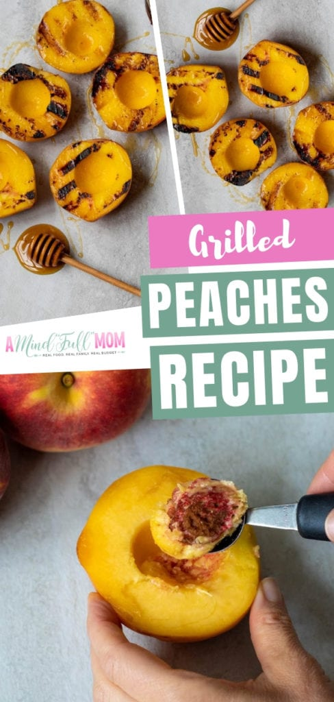 Learn how to grill peaches on a gas grill, a charcoal grill, and even an indoor grill pan! You can have these grilled peaches with ice cream, atop a salad, plain, or served a la mode. You can also have some grilled peaches as dessert!