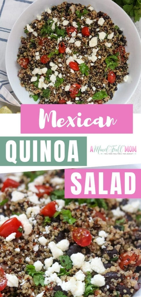A light and refreshing Mexican Quinoa Salad with black beans! This quinoa recipe with feta is a healthy and delicious side dish. Make it for a summer picnic, a potluck, or even a quick meatless meal! This will be your favorite dish!