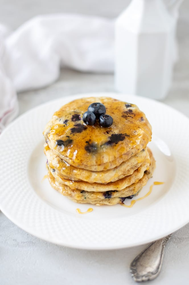 Vegan Blueberry Pancakes on white plate