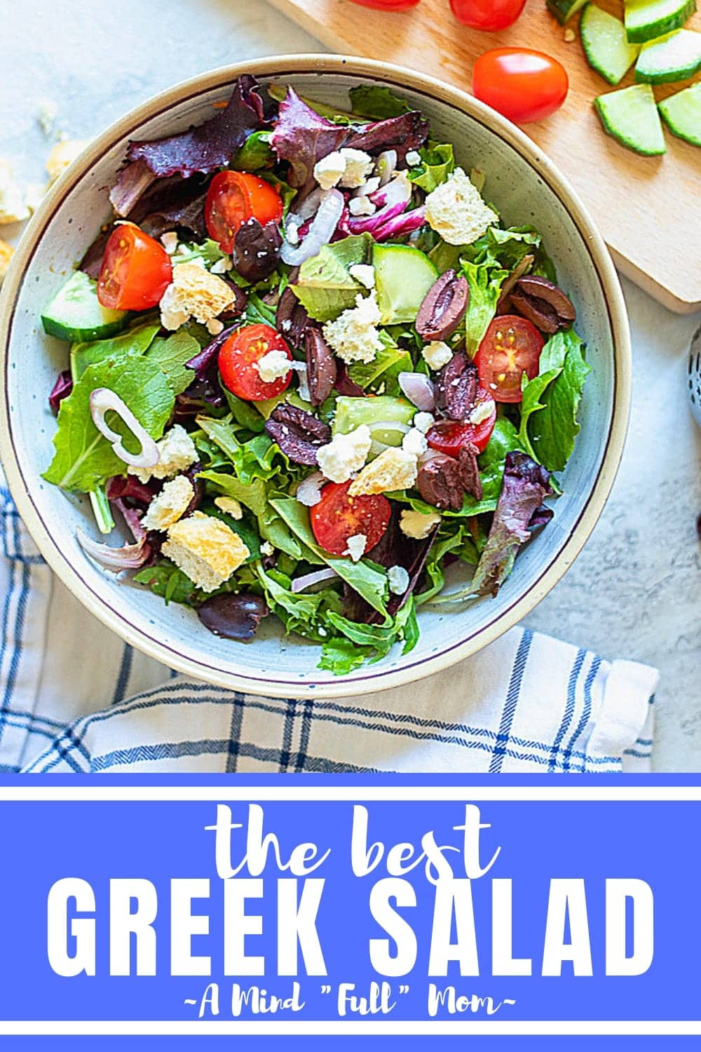 A copycat version of your favorite Greek salad you would order at Panera or a pizza shop--this Mediterranean inspired salad always hits the spot!