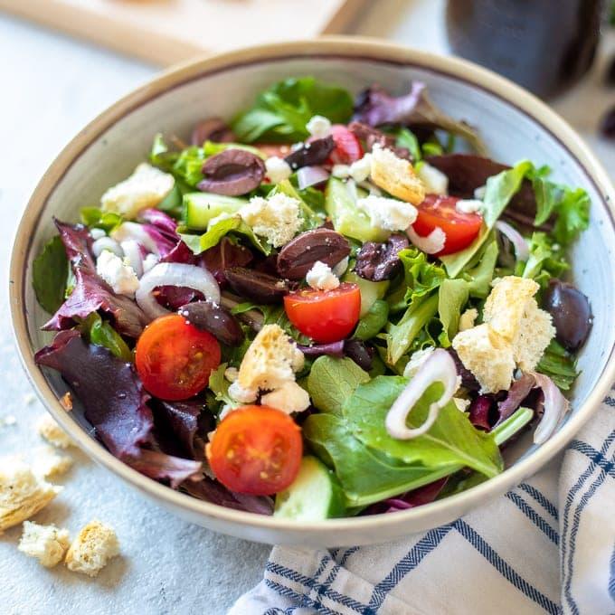 Bowl of tossed Greek Salad