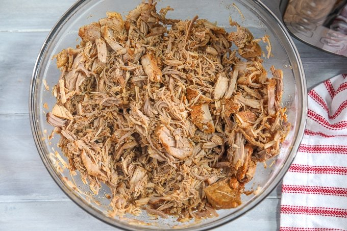 Shredded Pork in clear bowl