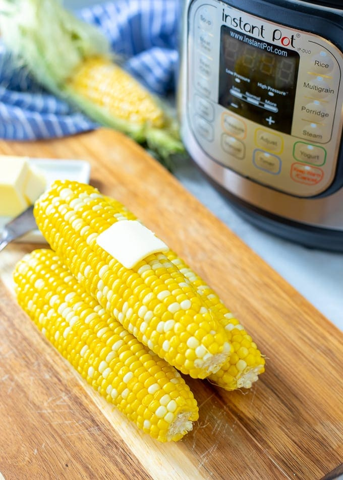 Corn on the Cob next to Instant Pot