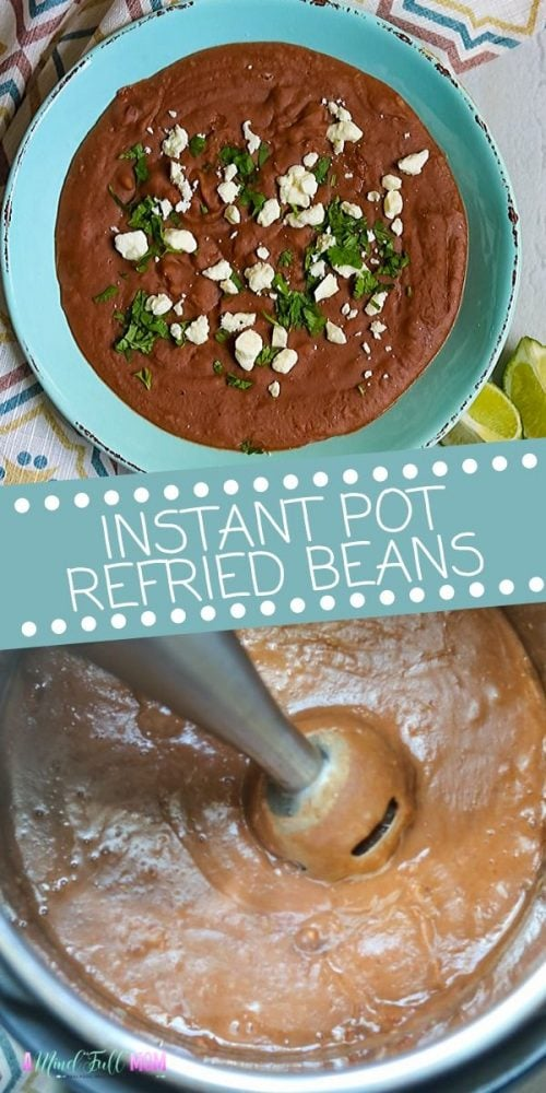 Instant Pot Refried Beans are the easiest and tastiest way to make homemade refried bean recipe ever! Made with dried beans and the perfect blend of spices, these refried beans come together effortlessly and taste better than anything you canned.  Save yourself time and money with the easiest, tastiest refried bean recipe ever!