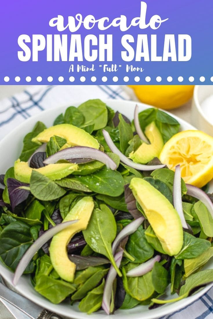 This might be the Easiest Spinach Salad EVER! But it is also one of the best! The avocado and lemons make the perfect pairing for this Spinach Avocado Salad #salad #spinachsalad #avocado