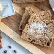 Cinnamon Bread with butter being spread