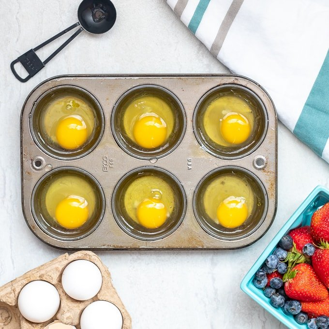 Raw Eggs in Muffin Tin