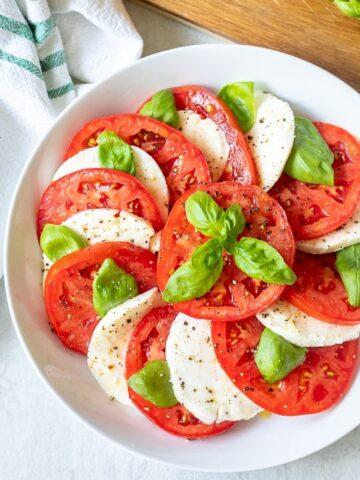 Mozzarella and Tomato Salad in white bowl