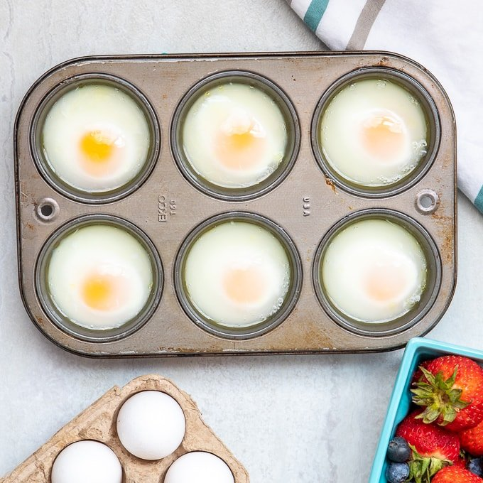 Cooked Poached Eggs in Muffin Tin