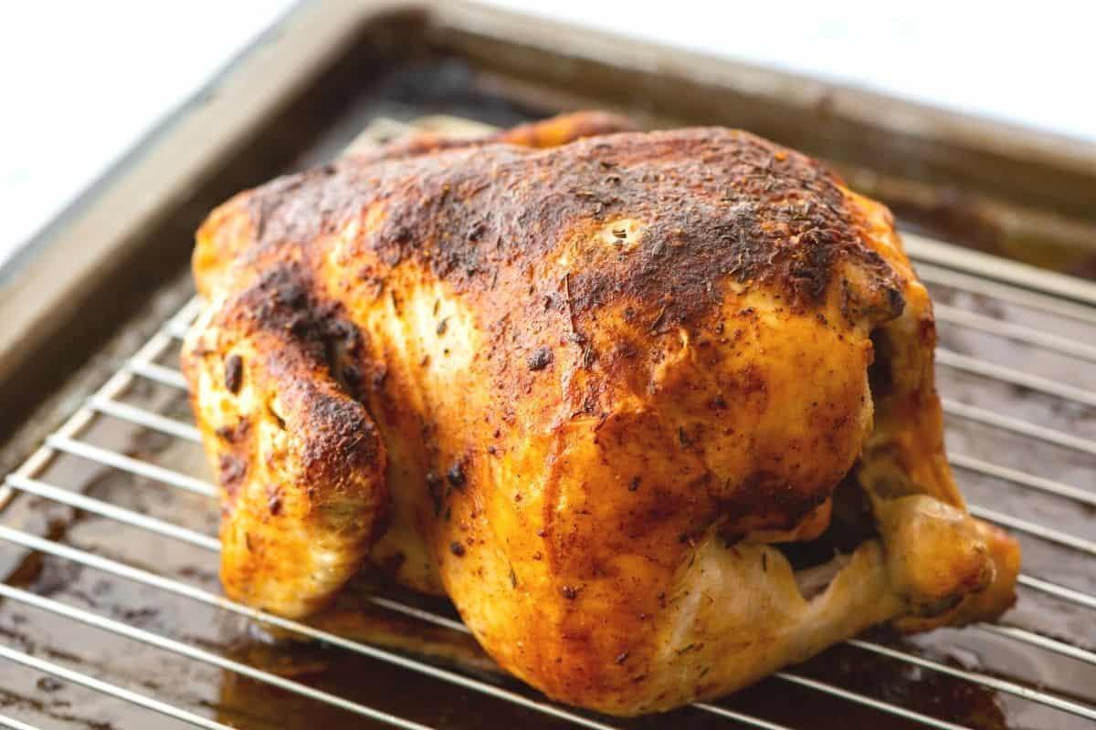Oven Roasted Chicken on roasting pan.