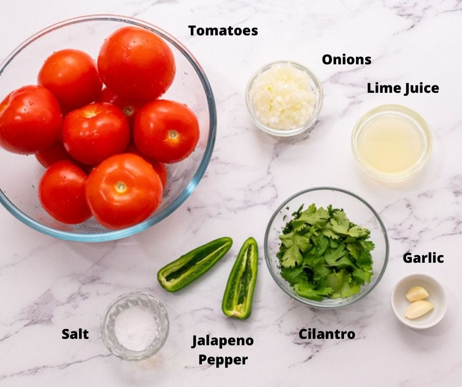 Ingredients for Salsa on white counter top