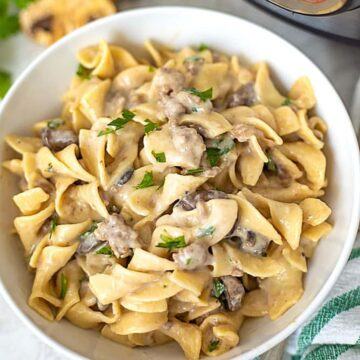 Pressure Cooker Beef Stroganoff in White Bowl