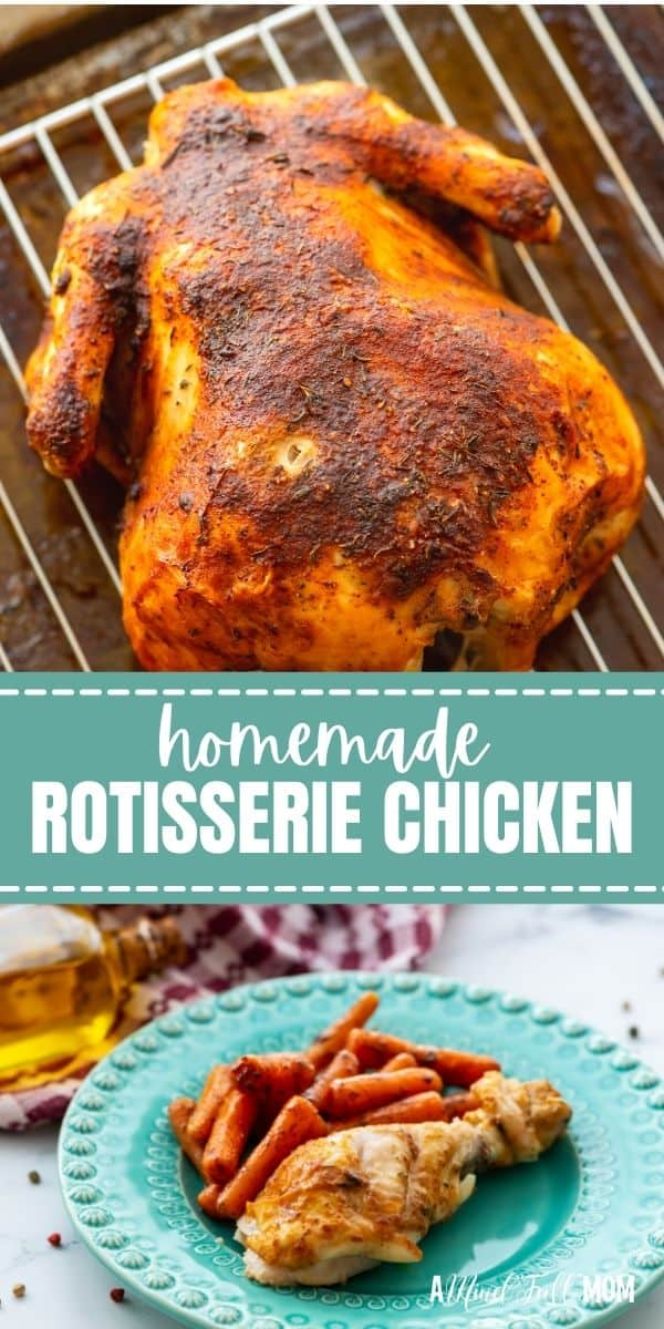 Skip the preservatives and additives found in store-bought and make your own oven roasted rotisserie chicken with only 5 minutes of work!! You end up with a juicy, tender chicken that stars on its own or in any dish that calls for cooked chicken.