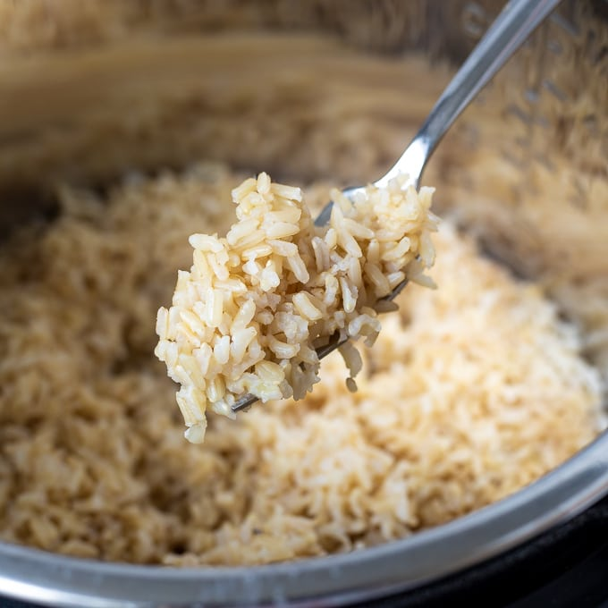Brown Rice Fluffed with a fork in the Instant Pot