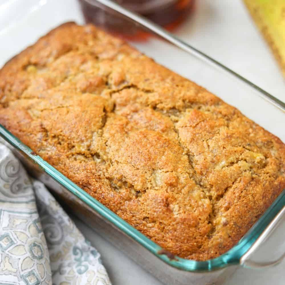 Baked Banana Bread in glass loaf pan