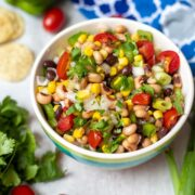 Bowl of Texas Caviar made with black eyed peas