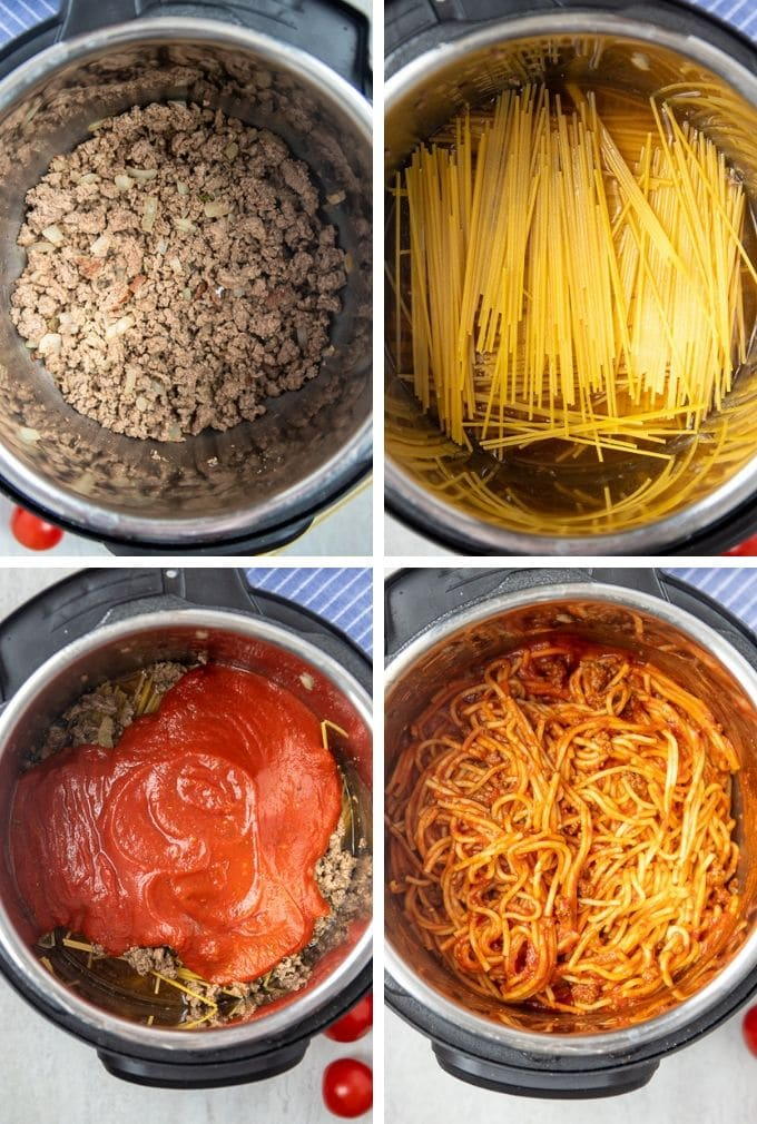Collage of Steps to make Instant Pot Spaghetti
