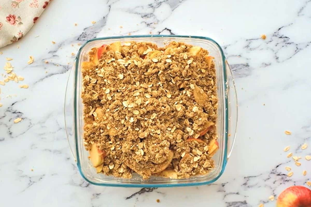Apple Crisp assembled in baking dish.