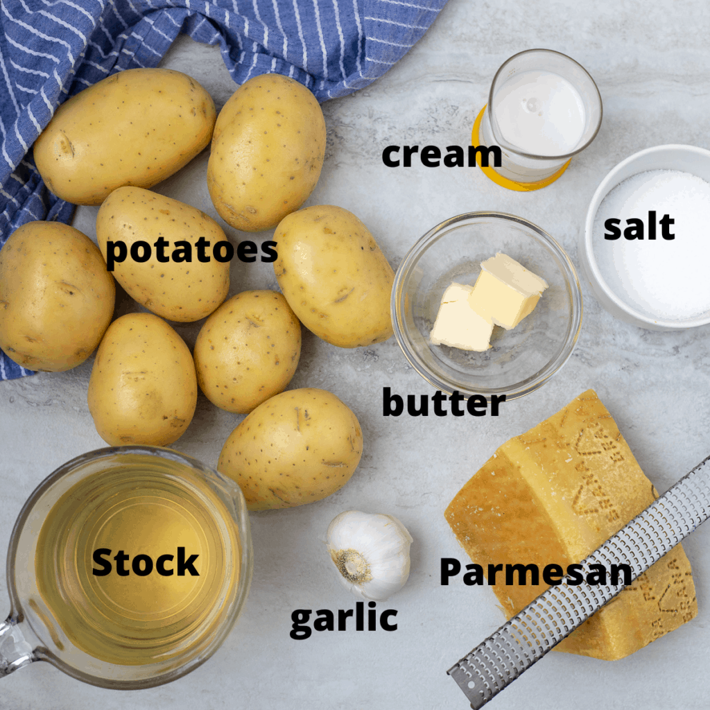Ingredients for slow cooker mashed potatoes labeled