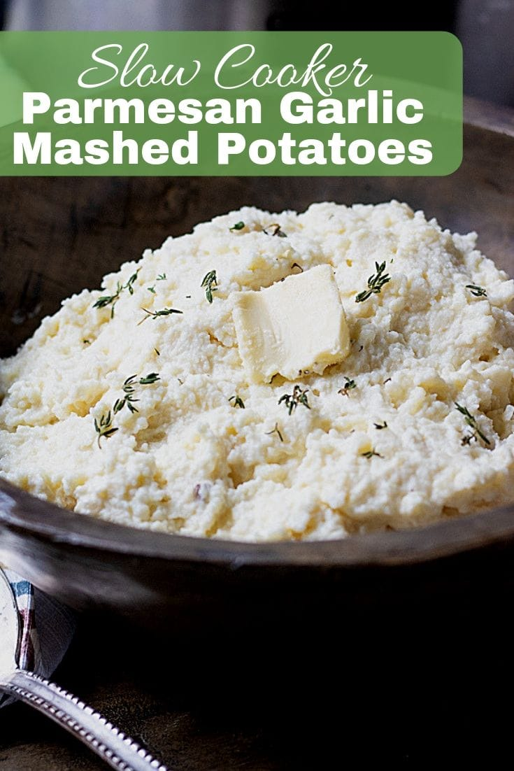 Slow Cooker Mashed Potatoes make the perfect side dish for any holiday meal, but are easy enough to make for weeknight meals. These Crock Pot Mashed Potatoes are velvety, creamy, rich and are perfectly seasoned with garlic and Parmesan and made easily in the slow cooker.