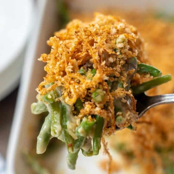 Spoonful of homemade green bean casserole