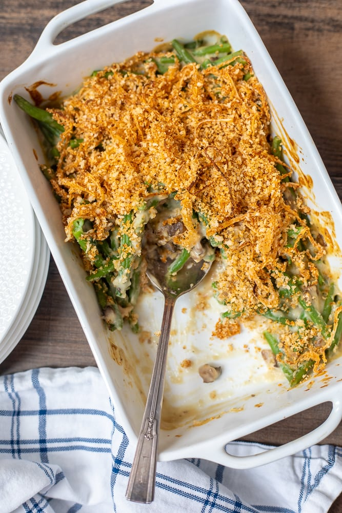 Baked Green Bean Casserole in Dish with serving spoon