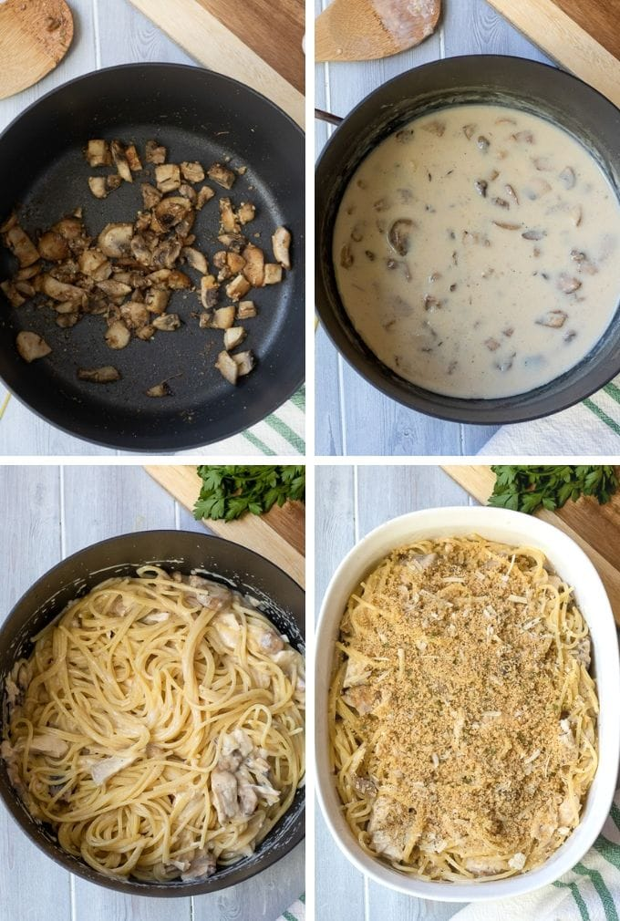 Step by step photos of how to make Turkey Tetrazzini