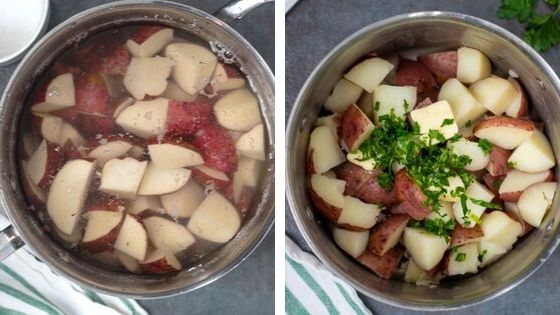 Side by side photo showing red potatoes being boiled