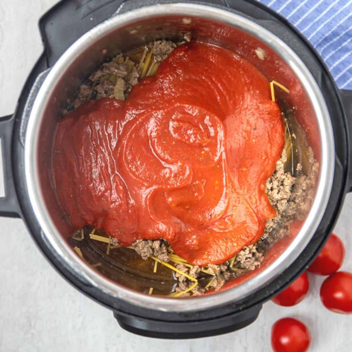 Noodles, meat, and sauce layered in Instant pot.