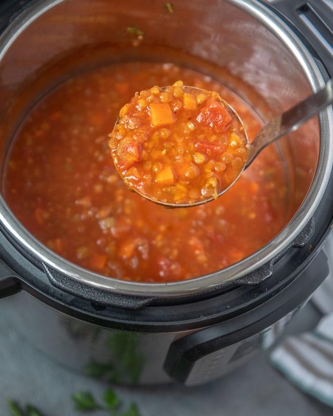 Ladle with Instant Pot Lentil Soup