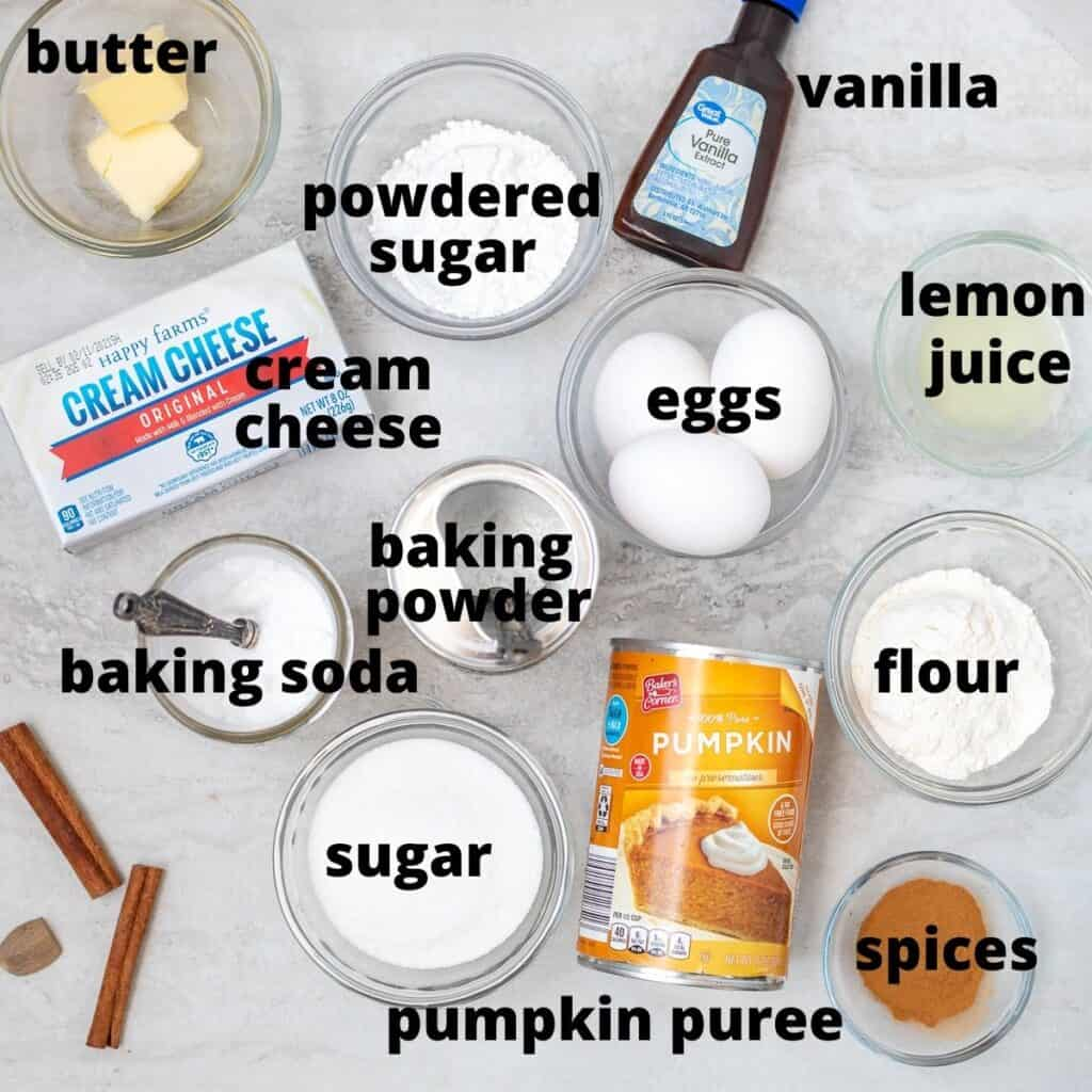 labeled ingredients for pumpkin roll