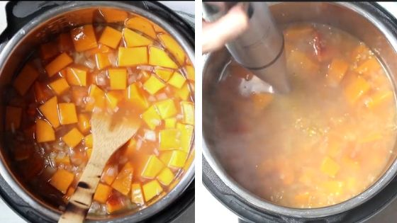 Collage of how to make Instant Pot Butternut Squash Soup