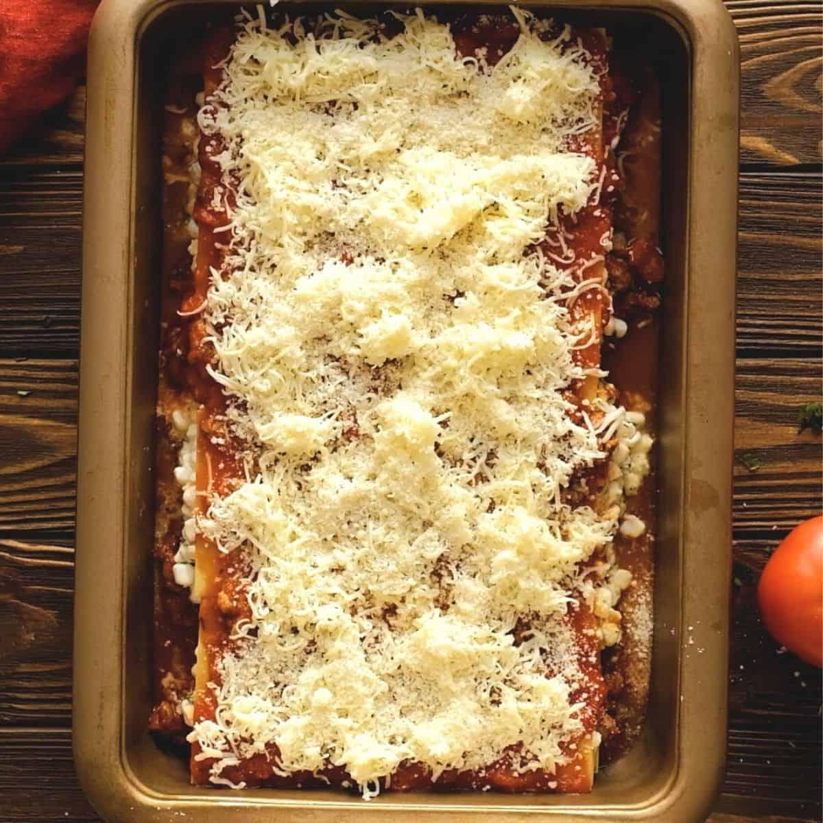 Prepared lasagna in 9x13 pan.